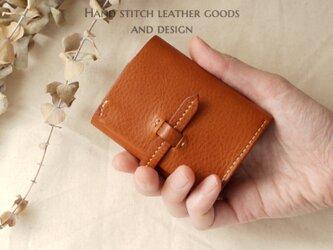 ☆受注制作☆総手縫い♪イタリアンレザーのボックスコインケース型三つ折り財布《ベルト付き》《コニャック》の画像