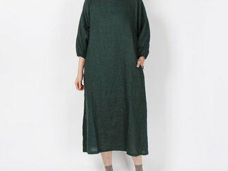 14番手リネンゴム袖ワンピース(グリーン)の画像