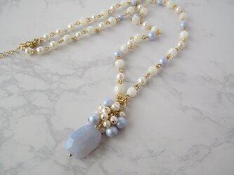Necklace 淡水パール ブルーレースアゲート マザーオブパール(N1239)の画像