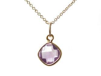 ピンクアメジストのダイヤクッションカットの枠留めネックレス ~Sesiliaの画像