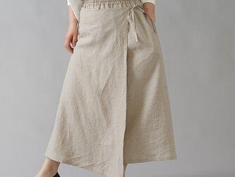 【wafu】やや薄手 リネンラップ風スカート 重ね巻スカート ロングスカート /亜麻ナチュラル s007a-amn1の画像