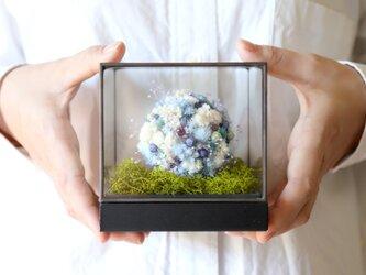 【結婚祝い・母の日・開店祝い】アイアンガラスキューブ(ブルー) #827の画像