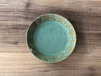 いっちん草紋6寸平皿 グリーンの画像
