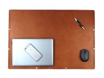 デスクマット(タバコ) 本革 牛革 皮 レザー マウスパッド テレワーク オフィス テーブル MacBook PC 学習机の画像