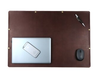 デスクマット(ダークブラウン) 本革 牛革 皮 レザー マウスパッド MacBook テーブル PC オフィス 学習机の画像