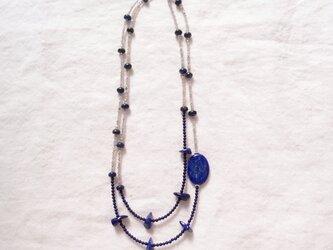 送料無料【silver】バイカラーロングネックレス/lapis lazuli × labradorite・one pointの画像