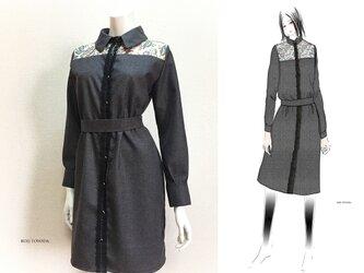 【1点もの・デザイン画付き】ベルト付きゴブラン織り切り替えグレーワンピース(KOJI TOYODA)の画像