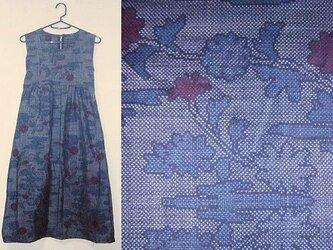 Sold Out着物リメイク♪タンポポが可愛い大島紬チュニックワンピース♪ハンドメイド♪正絹・大島紬・藍色・タンポポの画像