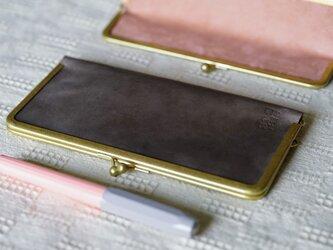 【オーダー品】真鍮使いの口金ペンケース(3本用)/ライトグレー×アッシュピンクの画像
