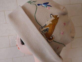 コットン素材スパンフライスニット生地で作ったニット帽(柴ちゃんの楽しみ)の画像