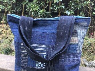 古布藍染パッチワークキルトのトートバッグの画像