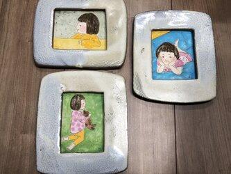 〈ミッキーマムさま専用〉陶額入り日本画3点組の画像