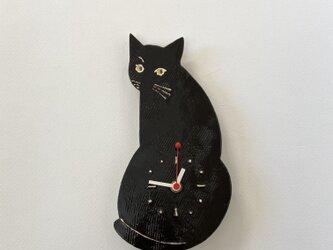 黒ねこの時計の画像