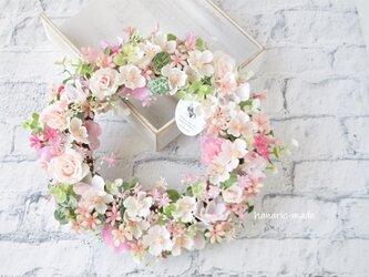 春霞 さくらと小花 :リース さくら バラ ピンク 春の画像