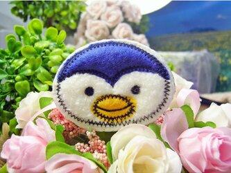 ★ペンギン★もこもこワッペン★アイロン★白青f6-1枚の画像