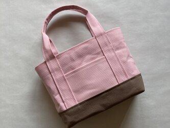 トートバッグ ( Mサイズ )「 桜〜the bottom〜」(パステルピンク×ショコラ)の画像