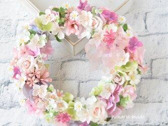 うす桃色 さくらと小さなバラのリース:さくら バラ ピンク 春 リボンの画像
