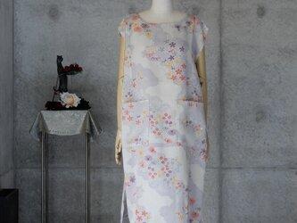 着物リメイク チュニックワンピ/フリーサイズ  フレンチ袖の画像
