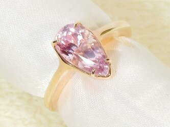 2.56ctクンツァイトとSV925の指輪(リングサイズ:9号、サイズ変更可、天然石、ピンクゴールドの厚メッキ)の画像