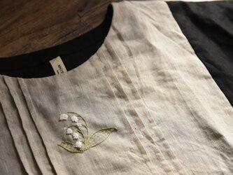 【受注製作】鈴蘭刺繍入りラミ麻製トップス・ブラウスの画像