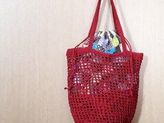 方眼編みのプチ手さげバッグ 巾着袋付き*ルビーレッドの画像