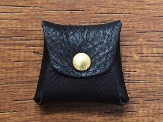 栃木レザー 四角い コインケース アクセサリーケース 小物入れ 小銭入れ 牛革 本革 ブラック JAK057の画像