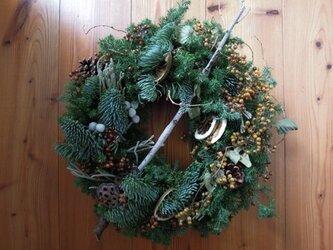 グリーンのクリスマスリース no.2(nさま ご予約)の画像