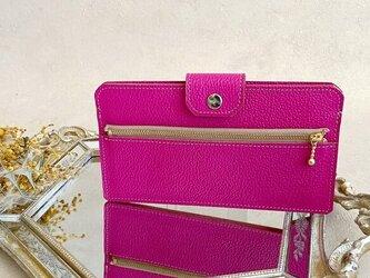 フラグメントケース スリム ウォレット 財布 スマホ も入る 長財布 マゼンタ ピンクの画像