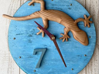 gecko wall clock Yoshino-sugi 0223No.7の画像