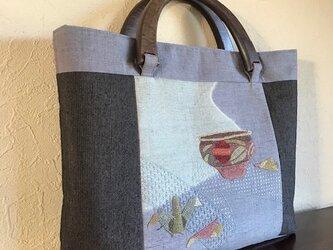 壺と鶴の折り紙柄 フレンチナッツ帯地の手提げの画像