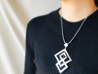 Silver950 四角-四角 アレンジネックレスの画像