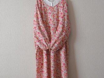 木綿のかっぽう着 ピンク小花の画像