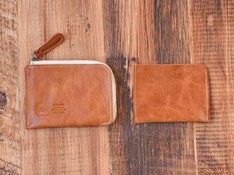 姫路産 馬革 L型コインケース 財布 手もみ シュリンク加工 キャメル ギフト JAK015の画像