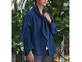 【 春の新作 】インディゴ・手織り・ドルマンスリーブジャケットの画像