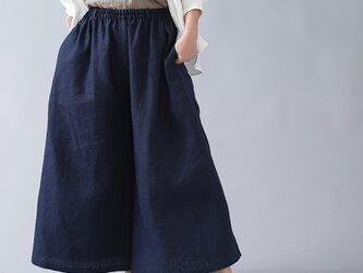 【wafu】中厚 リネンクロップド ワイドパンツ ベルトループ ポケット付/ネイビー b002m-neb2の画像