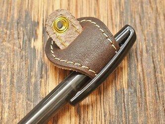 ペンホルダー ストラップ付き 長さ調整可能 真鍮 文房具 牛革 本革 栃木レザー 名入れ可 チョコ JAK050の画像