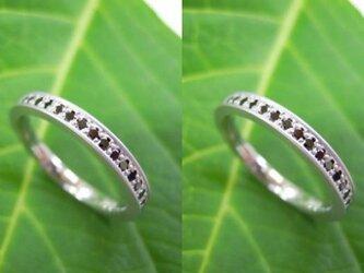 ハンドメイド結婚指輪☆ブラックダイヤ&ツヤ消し・エタニティリングの画像