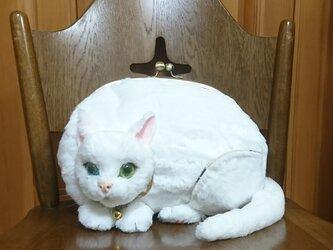 がま口になったネコ✿ずっと一緒ルダー✿白猫バッグの画像