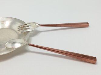 【化粧箱入り】銀&銅 接ぎ合わせのスプーンとフォークの画像