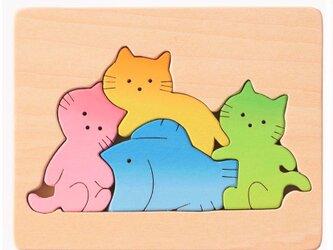 人気☆木製パズル 子猫と魚の画像