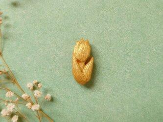 チューリップ1(ゴールド) 陶土ブローチの画像