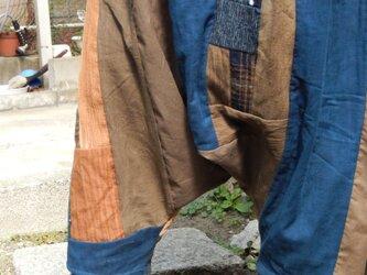 古布リメイク☆はちはち手描き染布に古布いろいろパッチのサルエルパンツの画像