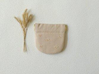 つぼみのバネポーチ(ミニ・ピンクベージュ)の画像