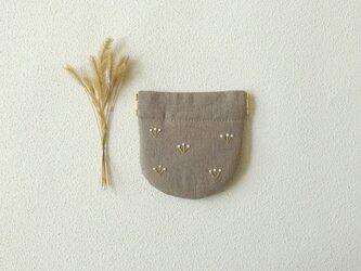 つぼみのバネポーチ(ミニ・グレーベージュ)の画像