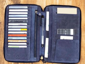 クラッチウォレット 薄くて大容量 財布 通帳ケース 本革 ネイビー HAW012の画像