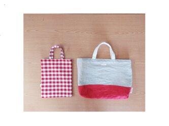 リネンの手提げbagと手提げ袋 2点セットの画像