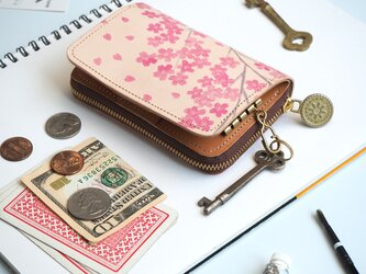 キーウォレット [ ミニ 財布 + キーケース ](サクラ)牛革 コンパクトの画像