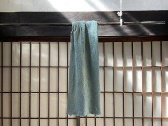 天然灰汁発酵建藍×ヤマモモ染め ウール×麻 ストールの画像
