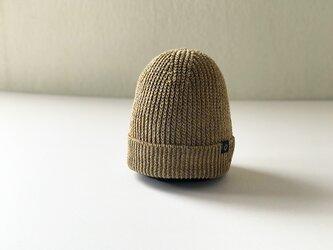 フレンチリネン畦編みニット帽  マスタード杢の画像