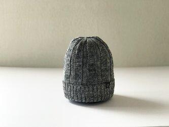 フレンチリネンワイドリブニット帽  グレー杢の画像